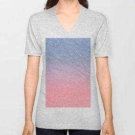 Modern blush coral pink pastel blue elegant faux glitter Unisex V-Neck