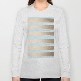 Paint Stripes Gold Tropical Ocean Sea Turquoise Long Sleeve T-shirt