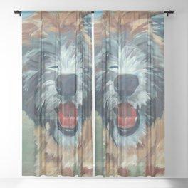 Wheaton Terrier Dog Portrait Sheer Curtain