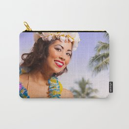 """""""Aloha"""" - The Playful Pinup - Coconut Shell Bikini Pinup Girl by Maxwell H. Johnson Carry-All Pouch"""