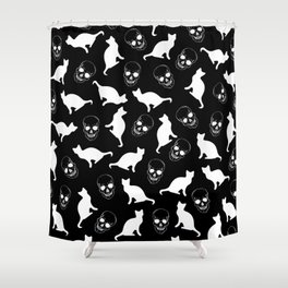 Skulls, Cats, Black and White, Pattern Shower Curtain