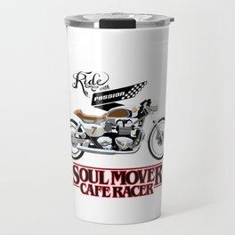 Retro Cafe Racer Soul Mover logo Travel Mug