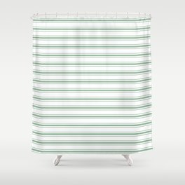 Mattress Ticking Wide Horizontal Striped Pattern in Moss Green and White Shower Curtain