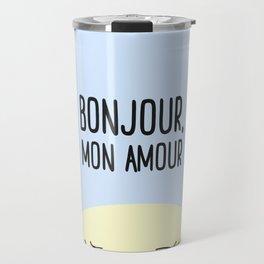 Bonjour Mon Amour #childrensroom #baby #babyshower #illustration #gift #home #decor #sun #pastel #de Travel Mug