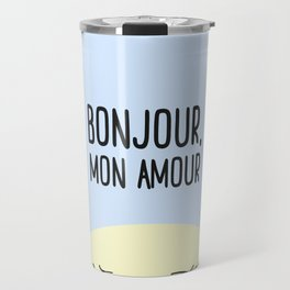 Bonjour Mon Amour #childrensroom #baby #babyshower #illustration #gift #home #decor #sun #pastel #de Travel Mug