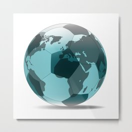 Football World Globe Metal Print