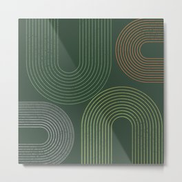 Vintage Army Green Abstract Metal Print