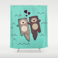 otters Shower Curtains featuring Significant Otter by TinyBee