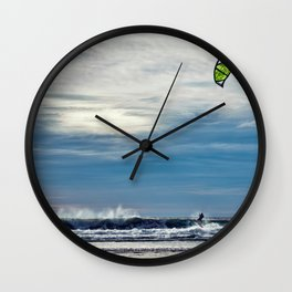 Parasailing On The Surf Wall Clock