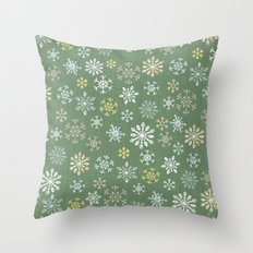 christmas snowy green Throw Pillow