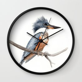 Kingfisher Bird Watercolor Illustration Wall Clock