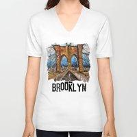brooklyn bridge V-neck T-shirts featuring Brooklyn Bridge by creativebloch.com