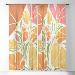 Spring Wildflowers / Floral Illustration Sheer Curtain