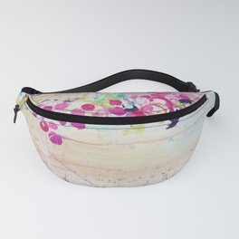 DANCE OF THE SAKURA - Lovely Floral Abstract Japanese Cherry Blossoms Painting, Feminine Peach Blue  Fanny Pack