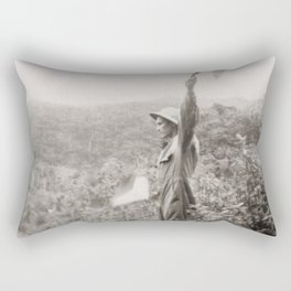 American Soldier With Flags Rectangular Pillow