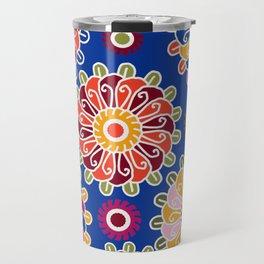 Optical Floral royal blue Travel Mug