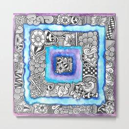 Purple Blue Zendoodle Square Metal Print