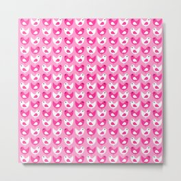 Pink Song Birds Digital Design Pattern Metal Print