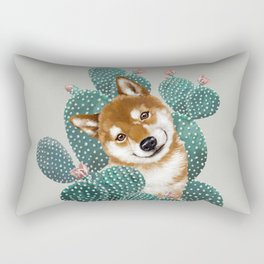 Shiba Inu and Cactus Rectangular Pillow