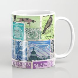 Rainbow Postage Stamp Art Collage Coffee Mug