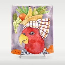 Carmen Miranda Parrot Shower Curtain