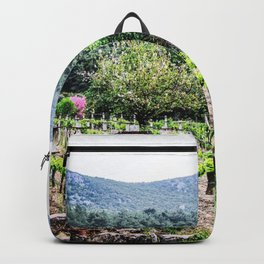 Country Farm | Cute Vineyard Cottage Farming Landscape Rolling Hills Green Mountains Grape Vines Backpack