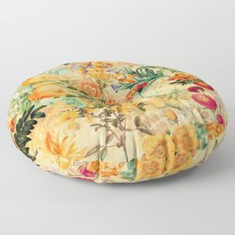Vintage & Shabby Chic -  Sunny Gold Botanical Flowers Summer Day Floor Pillow