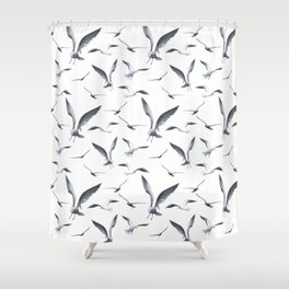 Flying Seagulls over the Ocean - Maritime Pattern - Mix & Match with Simplicity of life Shower Curtain