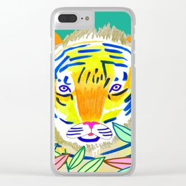 Tiger in Bushes. Clear iPhone Case