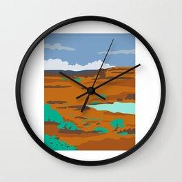 Columbian Basin Desert Scene Retro Wall Clock