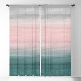 Touching Teal Blush Gray Watercolor Abstract #1 #painting #decor #art #society6 Blackout Curtain