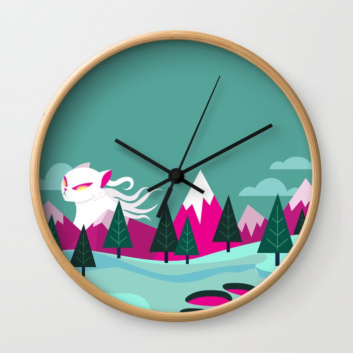 Monster Cat in the Mountains Wall Clock