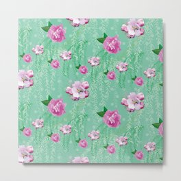Blossom Willow Flower Pattern Turquoise & Pink Metal Print