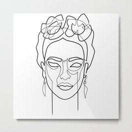 Woman Hair Dos Drawing in One Line Metal Print