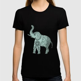 Elephant doodle in mint and pink. T-shirt