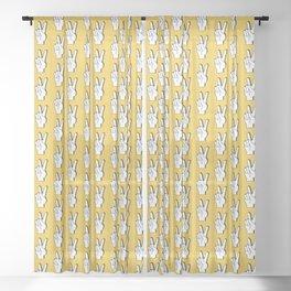 Peace Sign yellow Sheer Curtain