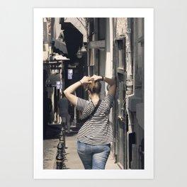 Pretty woman walking down the street Art Print