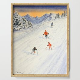 Skiing Family On The Slopes Serving Tray