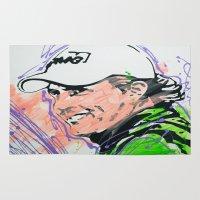 phil jones Area & Throw Rugs featuring Phil (Golf Legend) by CjosephART