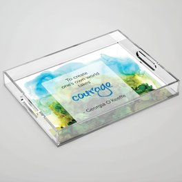 Inspirational Quote - Georgia O'Keeffe - Alcohol Ink Acrylic Tray