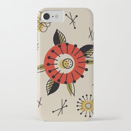 Red Mid Century Modern Flower  iPhone Case