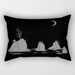 Moon Over Three Graces Grey on Black Rectangular Pillow