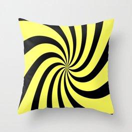 Spiral (Black & Yellow Pattern) Throw Pillow