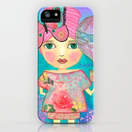 Be Free Mixed Media Whimsical Girl iPhone Case