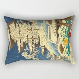 Japanese Woodblock Print Vintage Asian Art Colorful woodblock prints Shrine At Night Snow White Rectangular Pillow