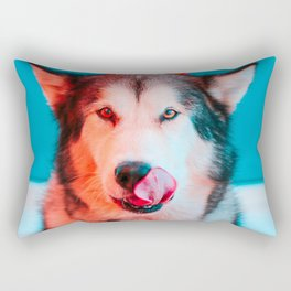 Ready for Turkey! Hungry Puppy at Thanksgiving Rectangular Pillow