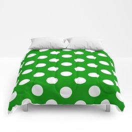 Islamic green - green - White Polka Dots - Pois Pattern Comforters