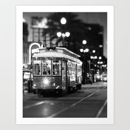 New Orleans Canal Street at Night Art Print