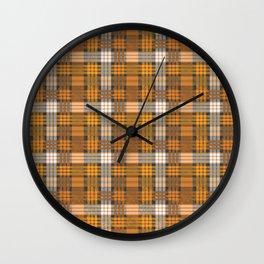 yellow basket weave plaid Wall Clock