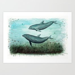 """Two Inshore Dolphins"" by Amber Marine ~ Watercolor Painting, (Copyright 2015) Art Print"